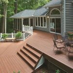 Wood plastic composite floor stain treatment method