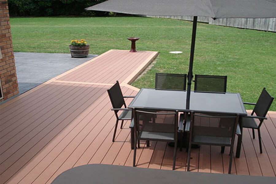 Plastic wood composite flooring can be maintenance-free outdoors